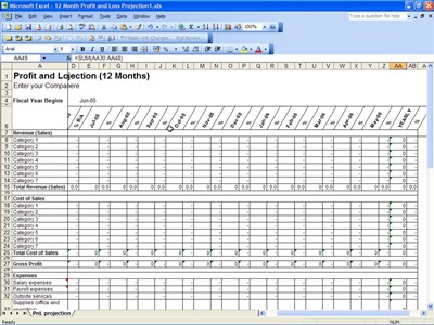 Free profit and loss projection template for excel for 12 month profit and loss projection template