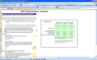 Medical Plan Calculator Template