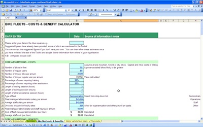 bike fleet cost benefit calculator template