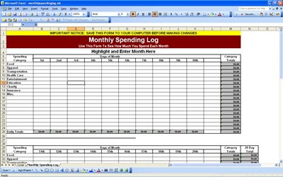 Help Your Own Budgeting Plans with the Monthly Spending Log