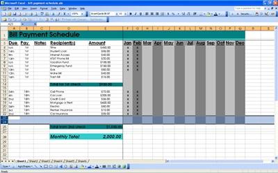 bill pay schedule template
