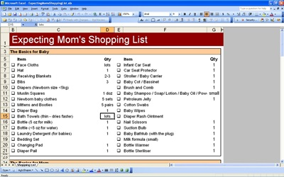 Expecting MomShopping List
