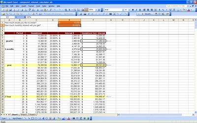 screenshot of the compound interest table