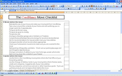 screenshot of the Moving Checklist template