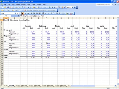 Advertising Spending Plan Spreadsheet Template