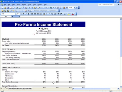 Proforma Income Statement – Generic Income Statement