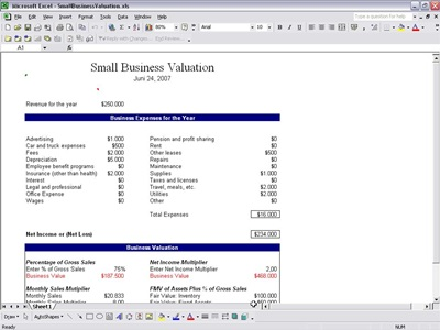 company valuation template excel - excel valuation report