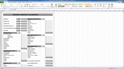 Excel Personal Budget Plan