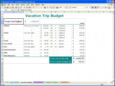 Vacation Trip Planner – Travel Expense Calculator Template