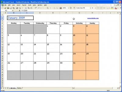 2009 Calendar Monthly