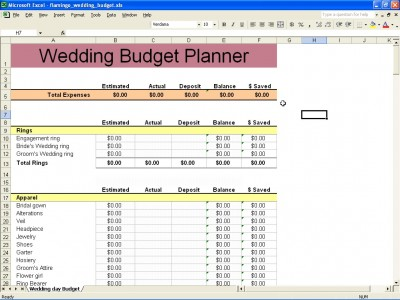 Wedding Budget | Wedding Budget Worksheet
