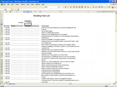 Wedding Task List Excel Templates