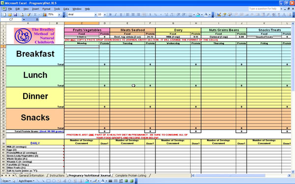 nutrition spreadsheet excel