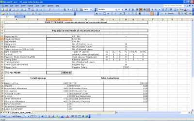 Salary Slip Salary Sheet Format – Pay Roll Format