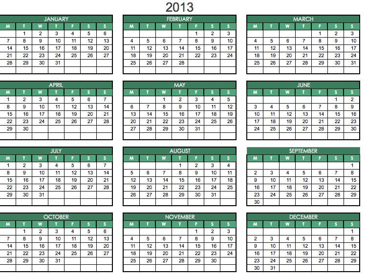 2013 Printable PDF One Page Calendar Yearly