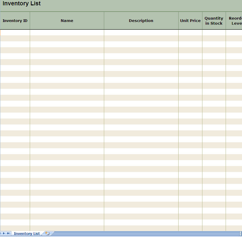 inventory list spreadsheet template for excel