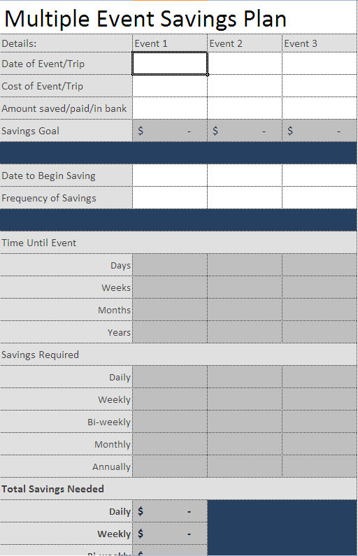 savings planner template for excel
