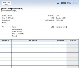 Work Order Form
