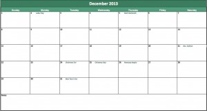 free 2013 calendar excel