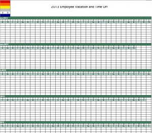2013 employe vacationtracking calendar template for excel