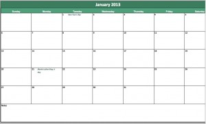 free 2013 monthly calendar