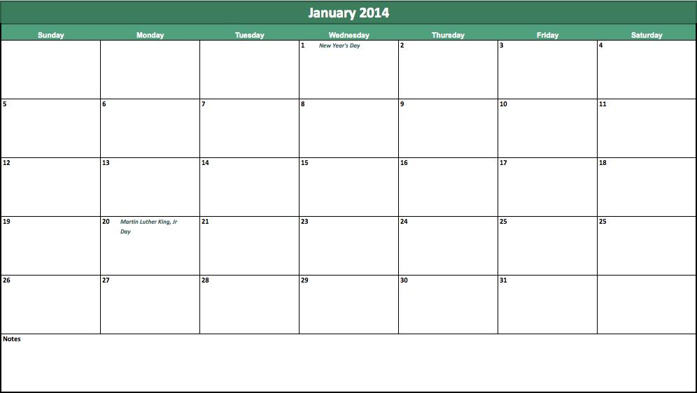 free 2014 holiday calendar