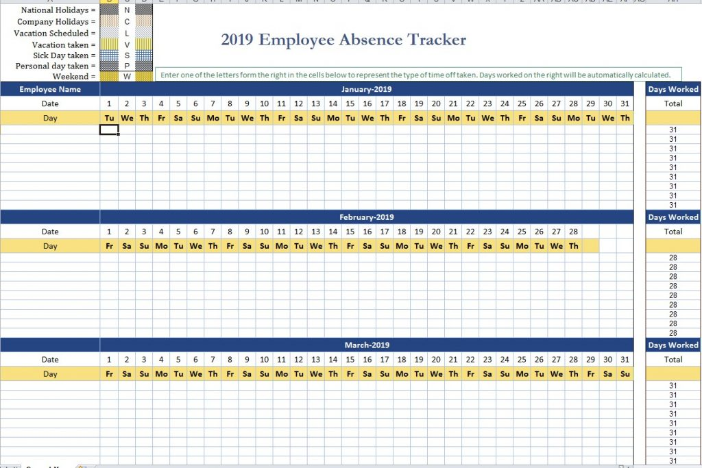 Absence Tracking Excel Template