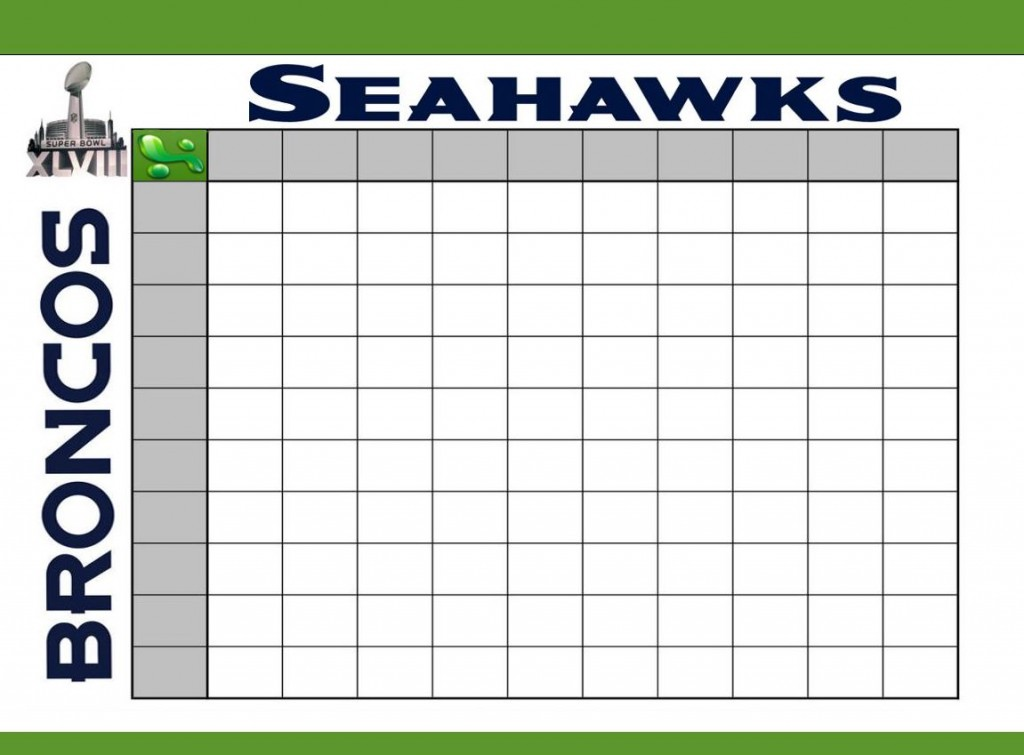 Super Bowl Football Squares Template Printable