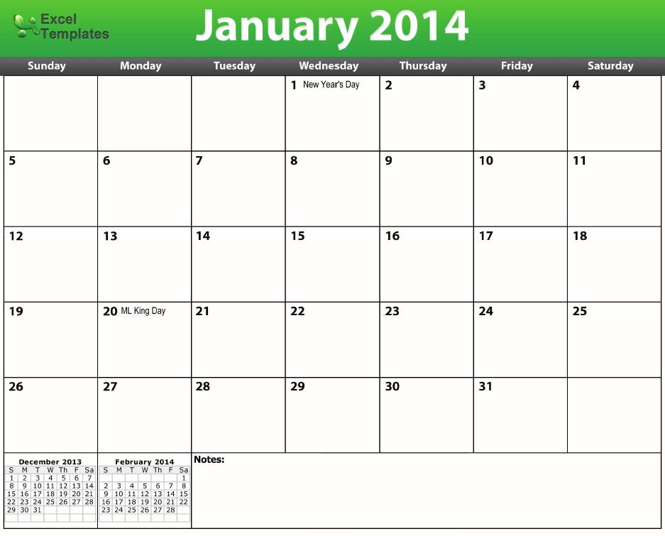 downloadable excel calendars
