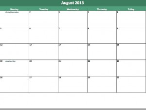 free august 2013 calendar