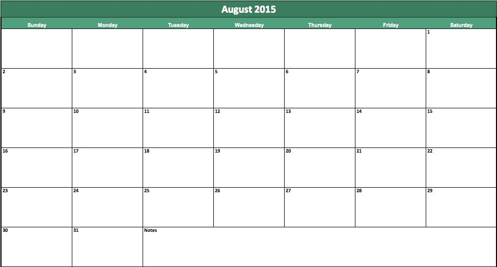 Stay on Track with the Excel August 2015 Calendar Template