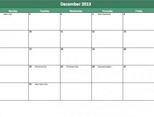 free december 2013 calendar template