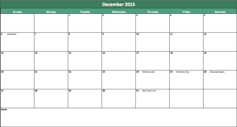 december 2015 calendar templates