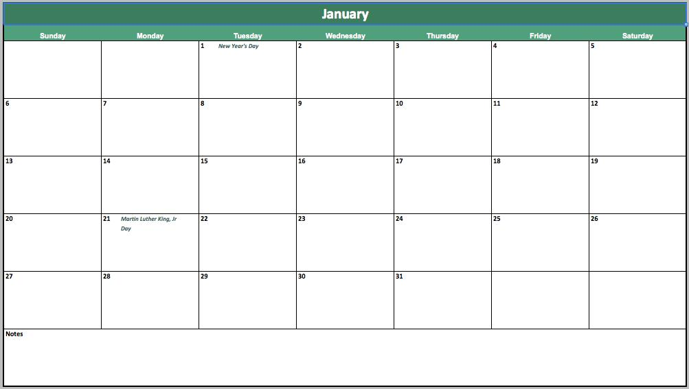 free event calendar template for excel