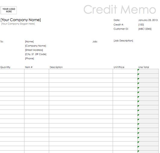 excel credit memo template download