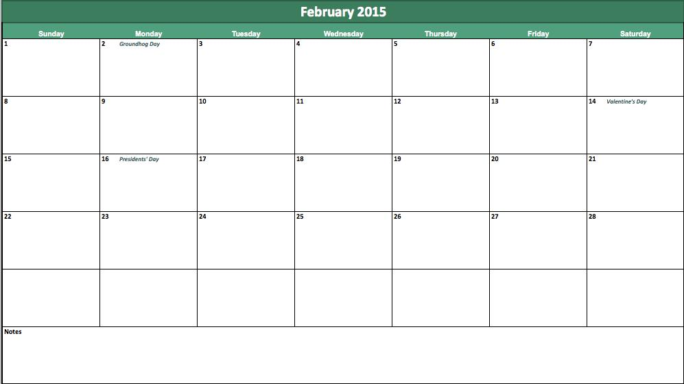 february 2015 calendar template
