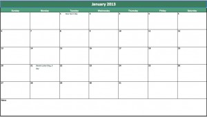 January 2013 Calendar