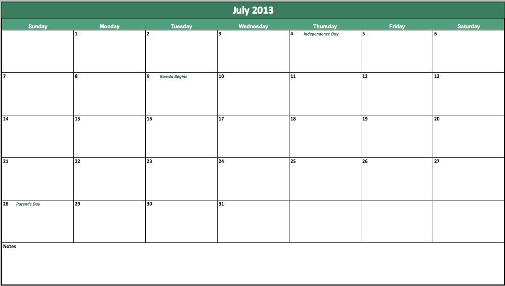 july 2013 calendar template