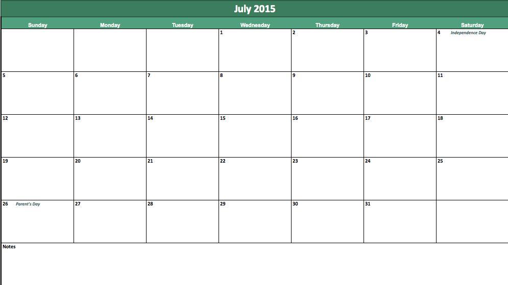 free july 2015 calendar