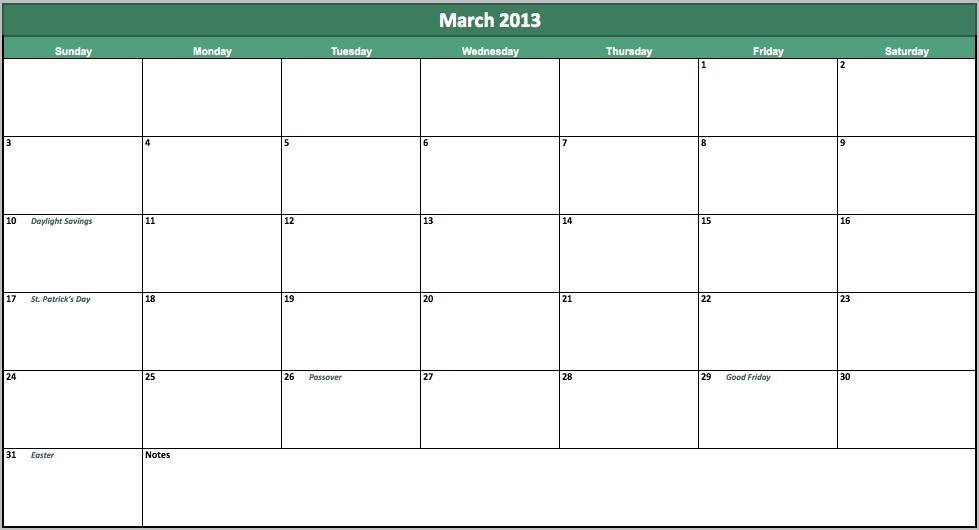 free march 2013 calendar