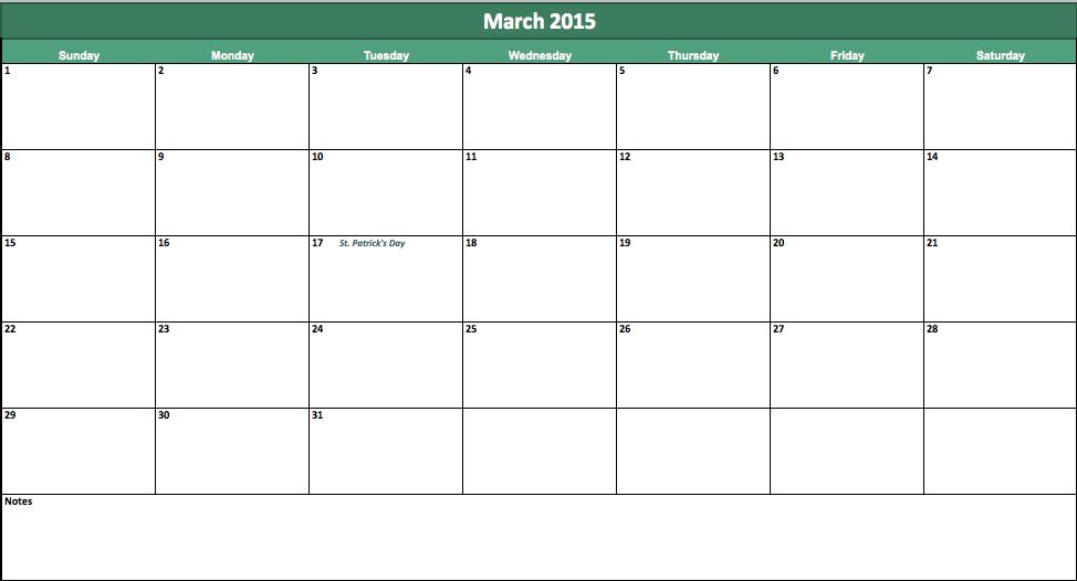 free march 2015 calendar