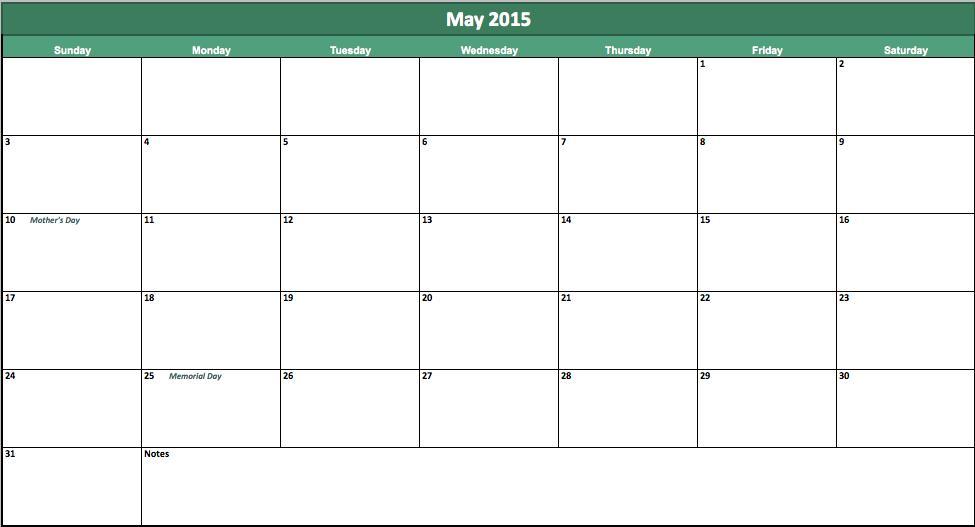may 2015 calendar template