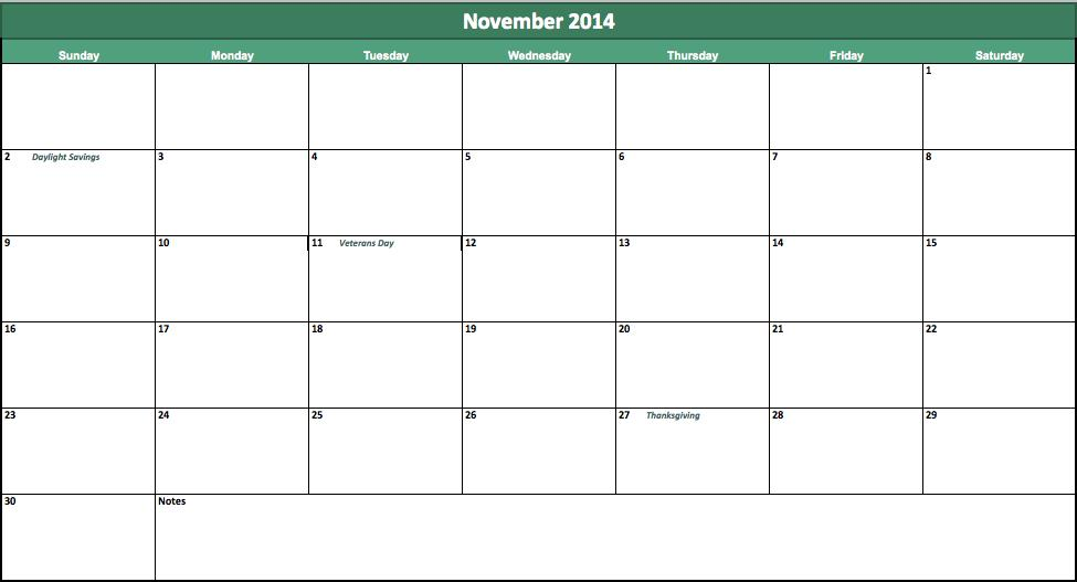 november-2014-calendar template