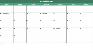 november 2015 calendar template