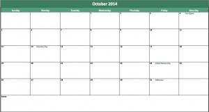 october 2014 calendar template