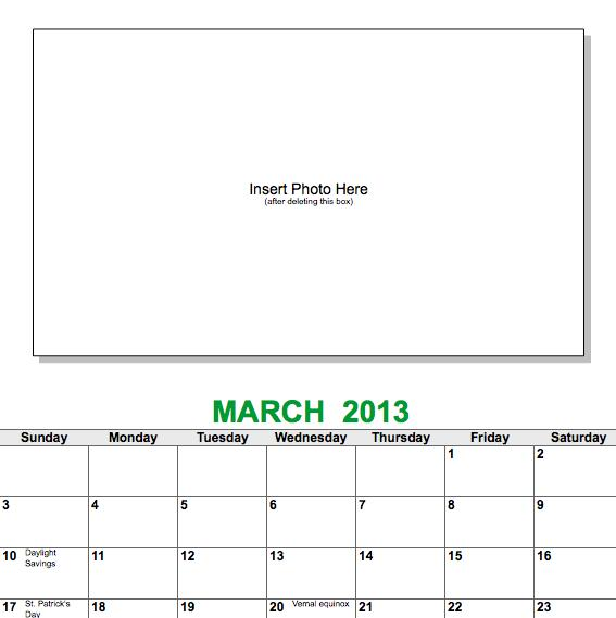 free photo calendar template