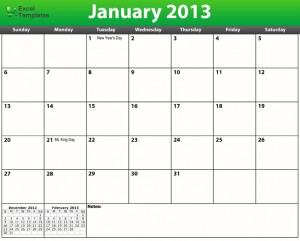 Printable PDF 2013 Holiday Calendar