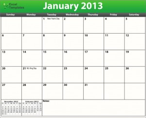 Printable PDF 2013 Monthly Calendar