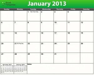 Printable PDF 2013 US Calendar