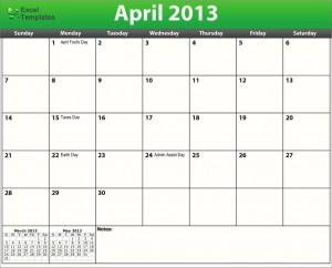 Printable PDF April 2013 Calendar